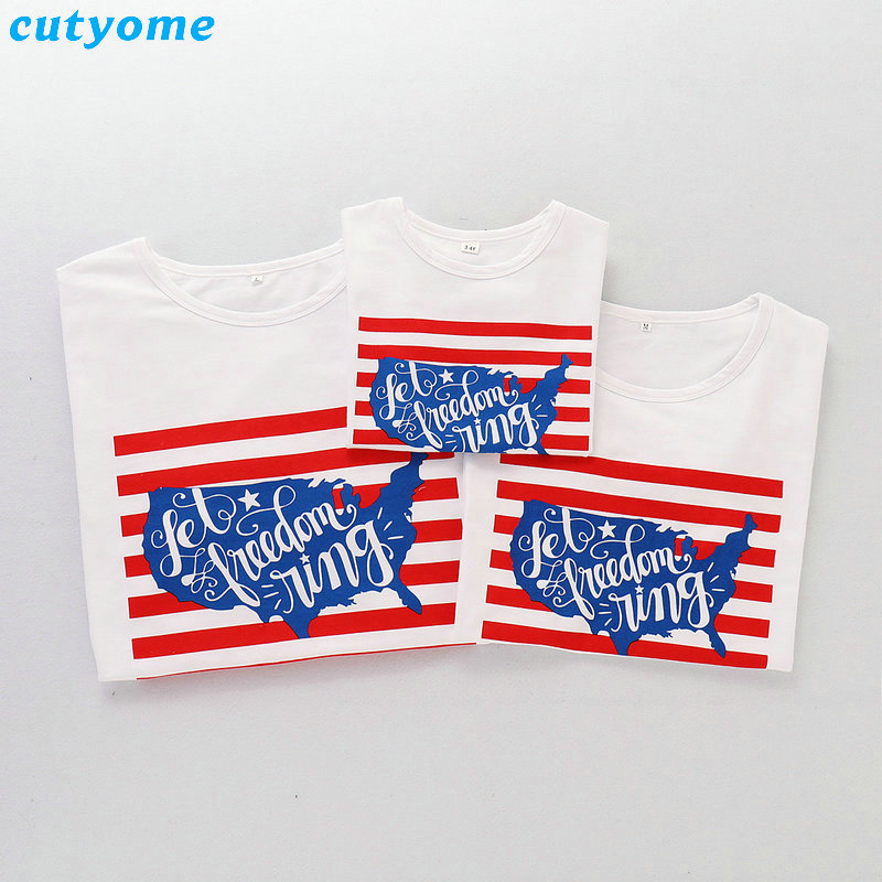 2019 Family Matching Outfits July 4th T-shirt Mother Daughter Father Son Independence Day Tee Tops Blouse Summer Cotton Summer (13)