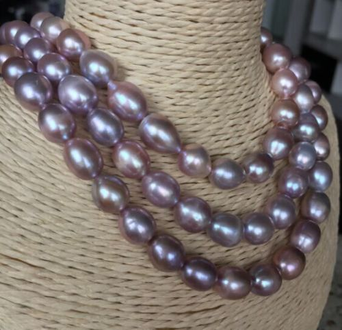 100% Selling Picture full single strands huge 11-12mm south sea lavender baroque pearl necklace 45inch