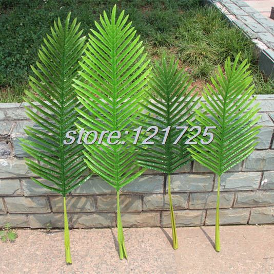 Plant tree branch green leaf artificial palm leaves 104cm 85cm latex wedding home furniture - Piante decorative da giardino ...