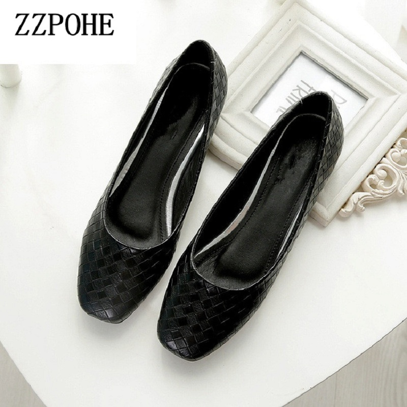 ZZPOHE Shoes Woman Spring Autumn Fashion Women Soft Flat Shoes Lady Slip On Casual Comfort Driving Flats shoes Plus Size 34-43 2017 new fashion spring summer boat shoes women candy color flats pointed toe slip on flat fashion casual plus size pu shoes