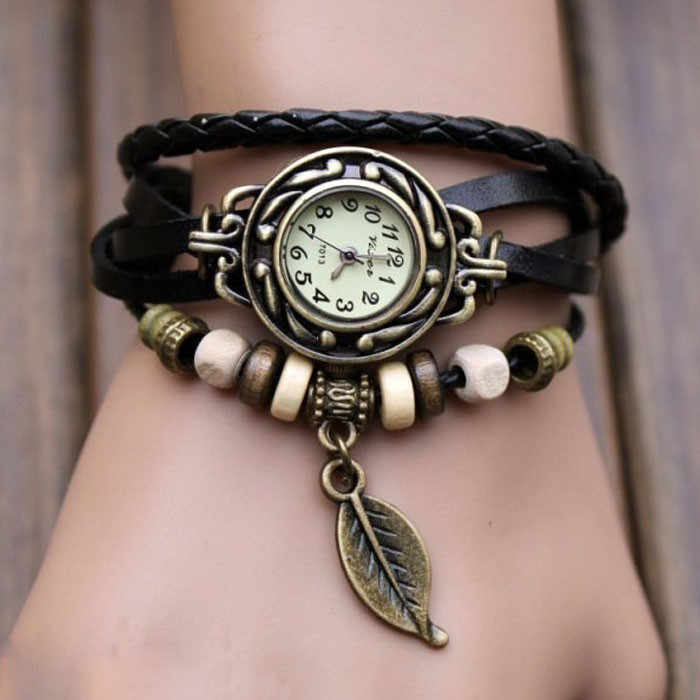 2018 Relogio Feminino Vico kobiet bransoletka zegarek splot Wrap skórzany liść koraliki zegarek kwarcowy zegarki zegar Relojes Mujer