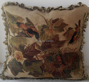 Free Shipping aubusson woolen cushion 55x55cm 100% New Zealand Wool handmade pillow, no insertion