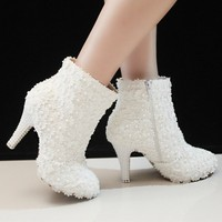 2014 Newest Winter High Heel Ankle Boots Wedding Shoes Bridal Dress Shoes Sexy Fashion White Lace