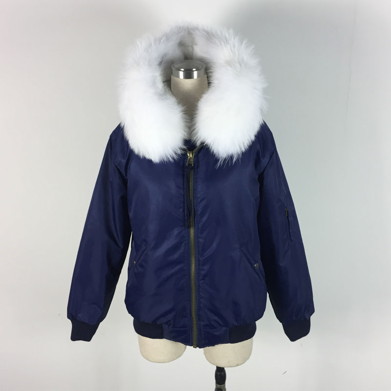 2016 New Arrival Fashion Bombers fur inside Winter unisex bomber jacket white raccoon collar Jacket