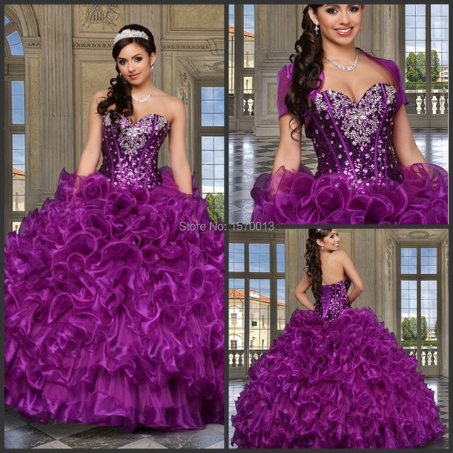 Cheap Quinceanera Gowns vestido de 15 anos princesa Sweetheart Beading Lace  Up Back Long Puffy Prom Dresses 2015 10f77c2600dd
