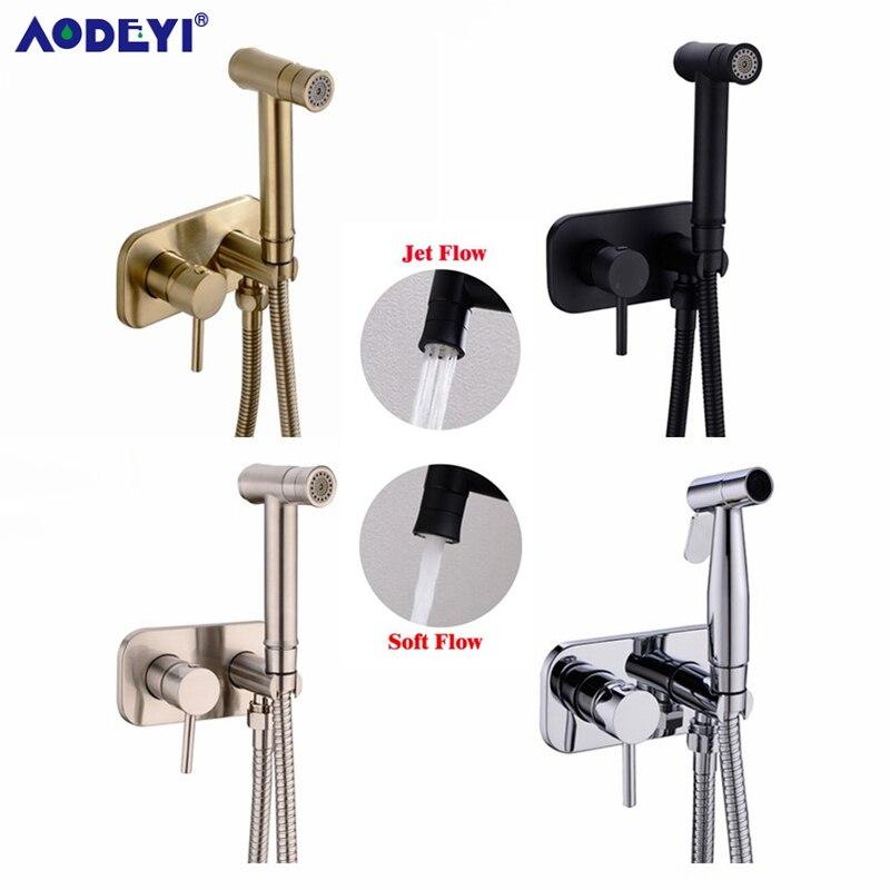 AODEYI Brass Toilet Hot Cold Bidet Spray  Handheld Bidet Diaper Set Bathroom Shower Set Shattaf Sprayer Jet Douche Kit