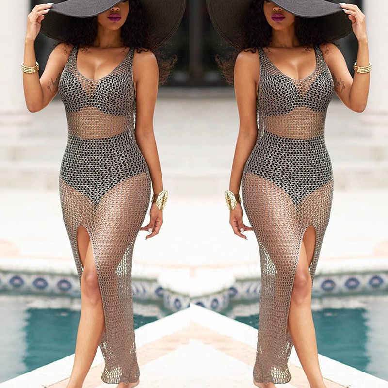 Sexy Women Hollow Out Crochet Bikini Cover Up Beachwear Swimsuit Female Bathing Swimwear Beach Dress Hot Sale