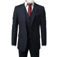 Nouveau bleu Foncé Hommes de Moderne Fit 3-Piece Suit Blazer Veste Tux Gilet et Pantalon Personnalisé faire pour passer commande, (le manteau + pantalon + gilet)