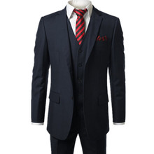 new Dark blue Men's Modern Fit 3-Piece Suit Blazer Jacket Tux Vest & Trousers  Custom make to order, (the coat + pants+ vest)