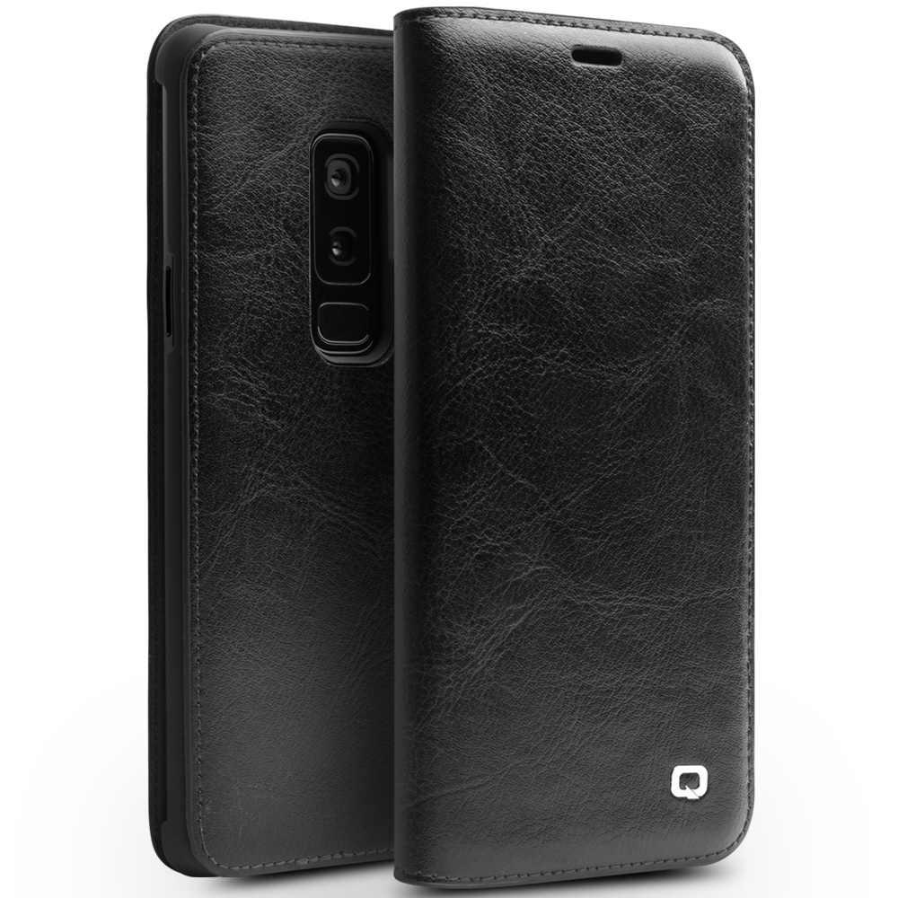QIALINO из натуральной кожи сумка для samsung Galaxy S9/S9 Plus Роскошный чехол-портмоне для samsung S9 ультра тонкий флип 5,6/6,2 дюймов