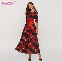 S.FLAVOR pół rękawa długa sukienka dla kobiet 2020 jesień zima moda Casual Dress O neck czeski Vestidos De