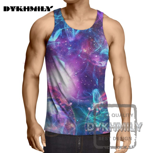3fb41855da5f05 Dykhmily Brand New Men Tank Top Tee Shirts Muscle Sleeveless Fitness  Stringer Singlets 3d Printed Animal Tops Bright Stars