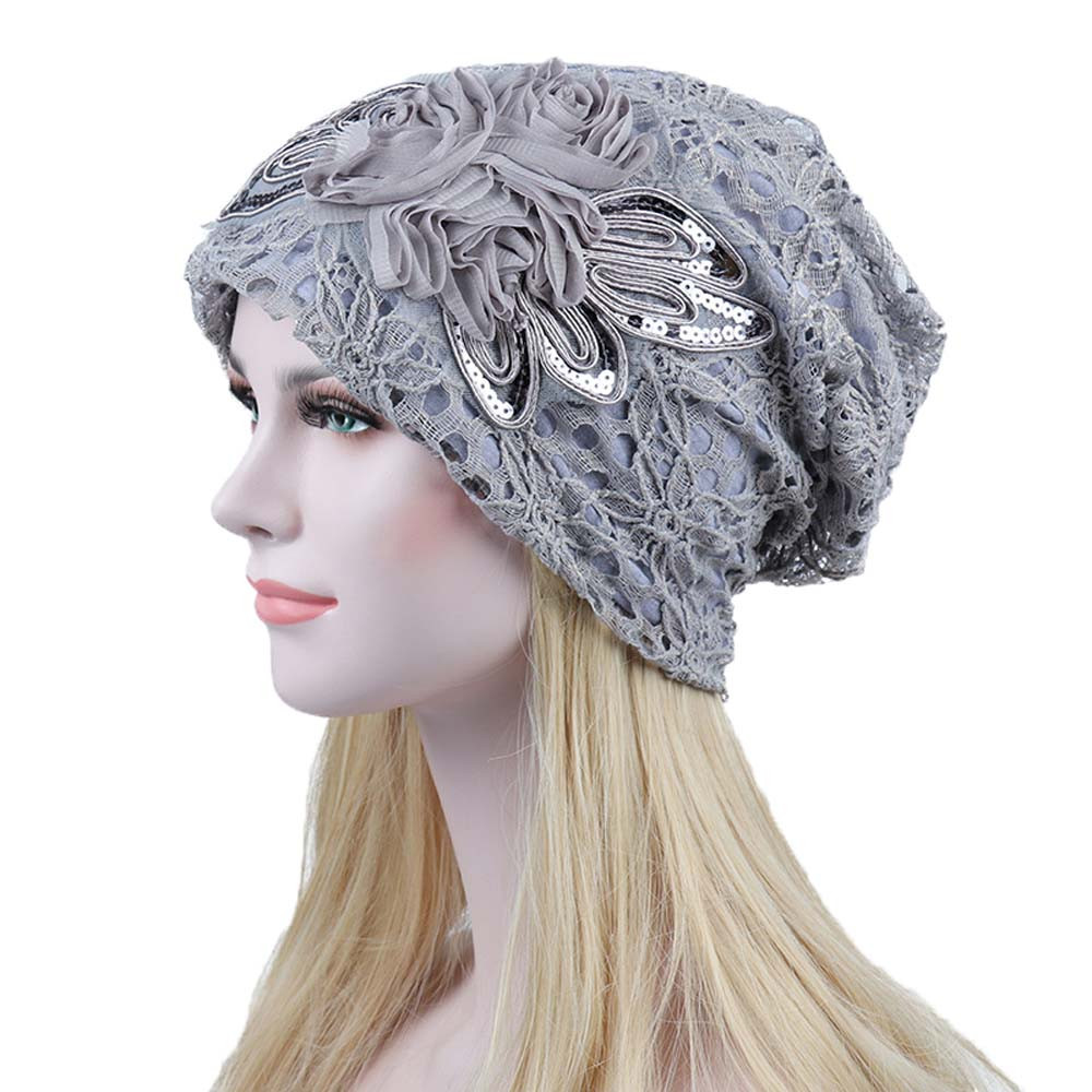 Women Lace Flower Slouchy Baggy Head Cap Chemo Beanie Cancer Hat Turban Ms. Lace Month Warm Chemotherapy Hat Cappello Donna