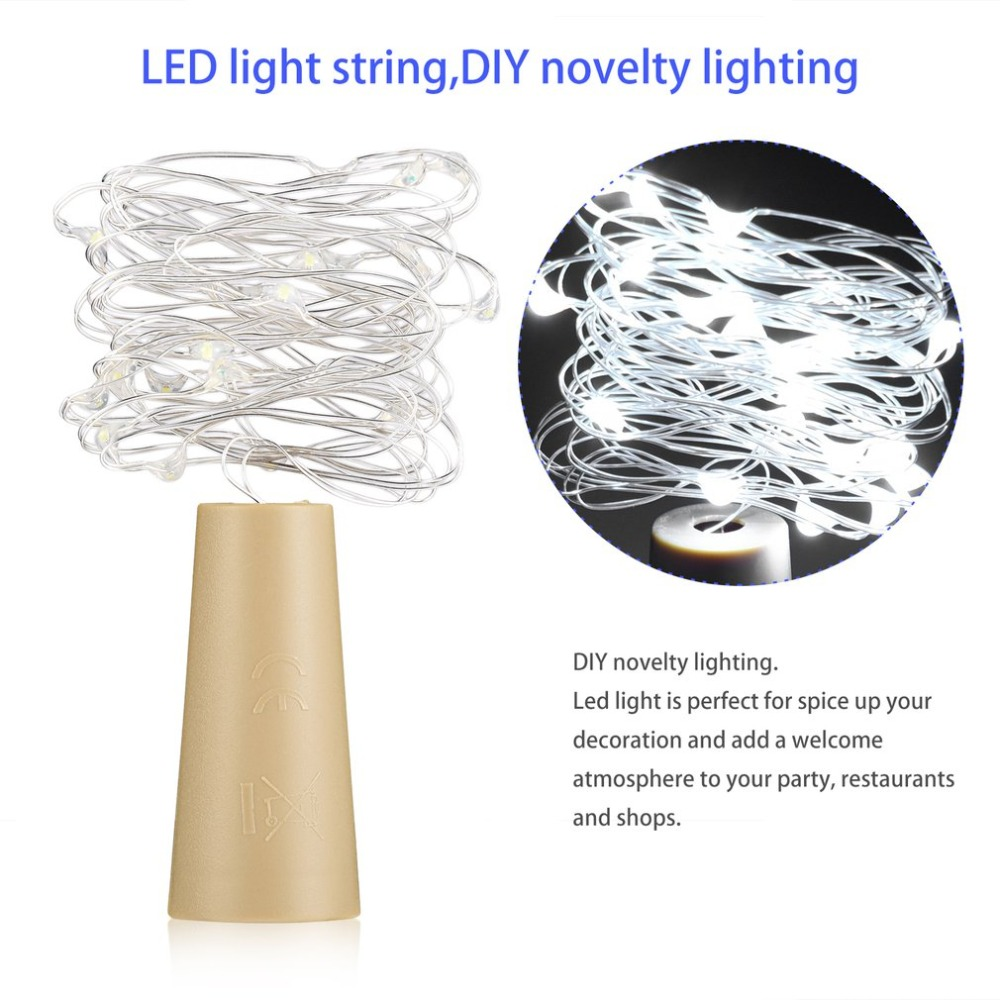 Led Lamps Cork Shaped Wine Bottle Stopper String Lights 2 Meters 20 Leds Silver Copper Wire Diy Christmas Halloween Wedding Party Crafts