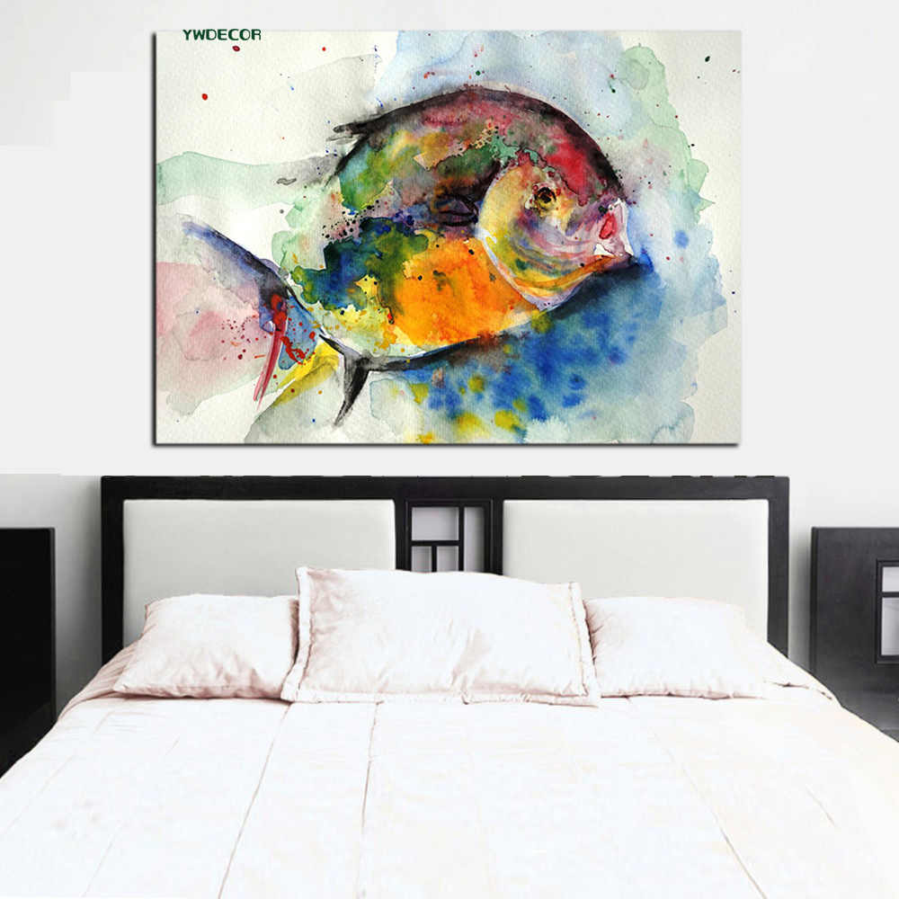 YWDECOR Print Watercolor Fish Ocean Painting feng shui Abstract Oil Painting on Canvas Wall Art Picture Poster for Living Room