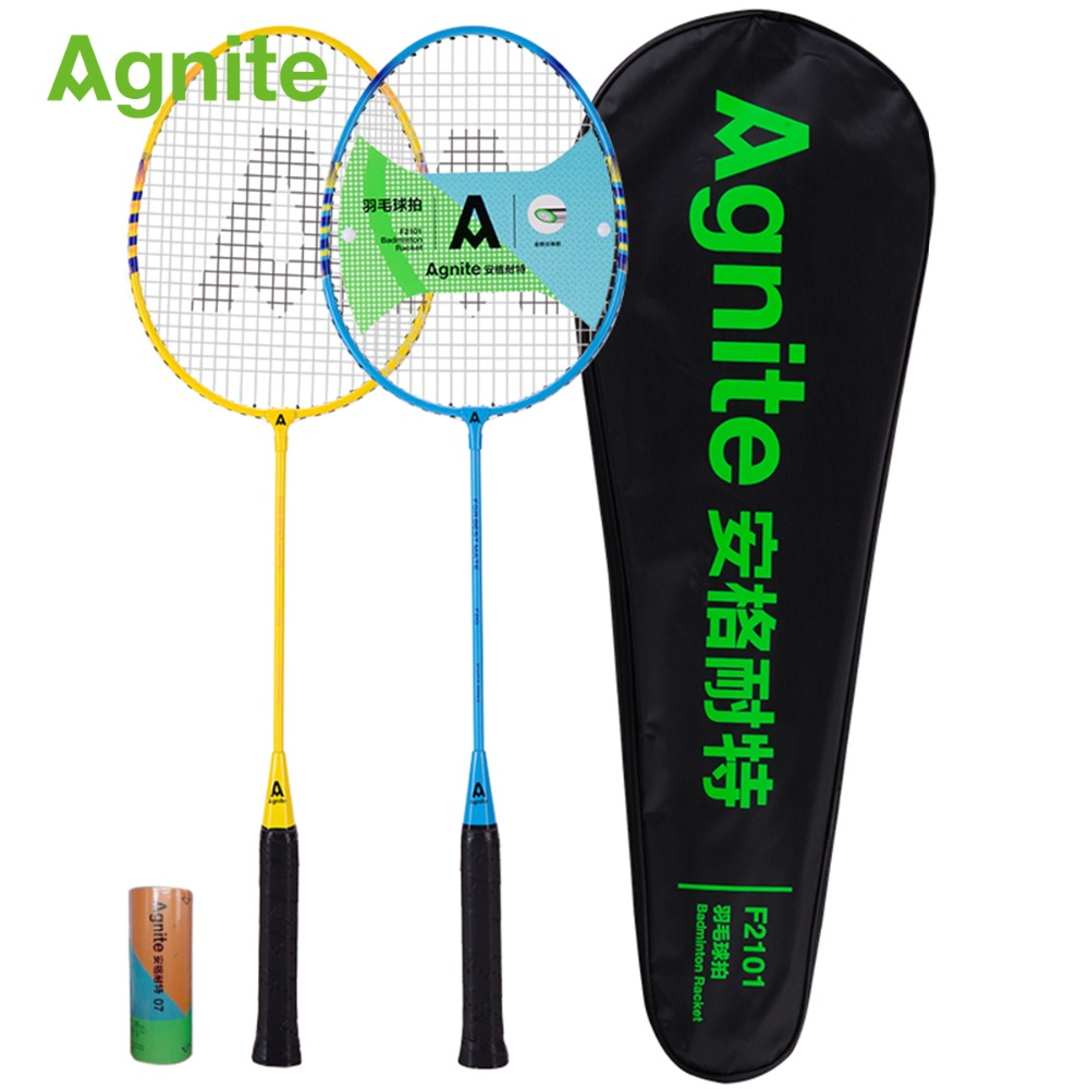 Agnite Ultralight Fitness Badminton Racket Double Shot Offensive Pupils 2 Sticks Gift For 3 Ball Family Leisure Outdoor Training