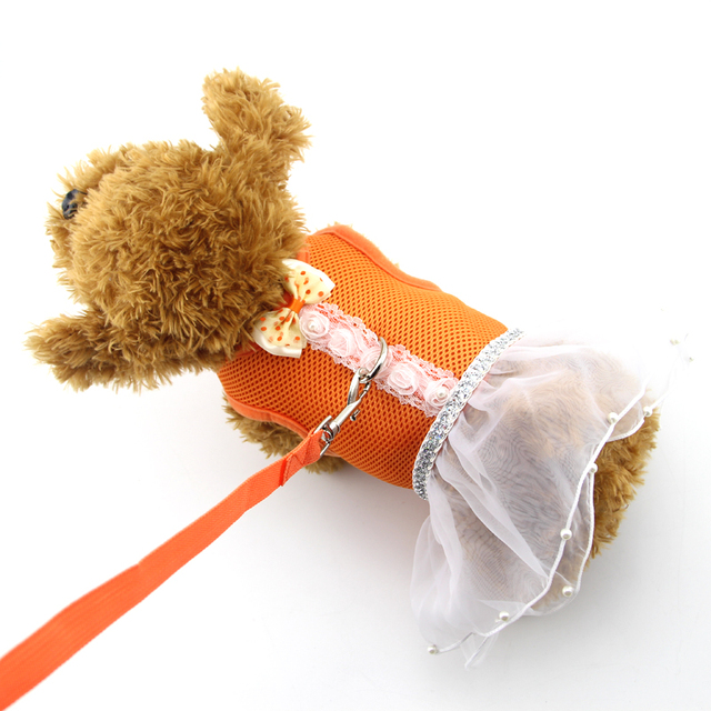 Dog Cat Control Harness pet clothes sundress Pearl dress Pet puppy harness Soft air sandwish Mesh Walk Collar Chihuahua Teddy
