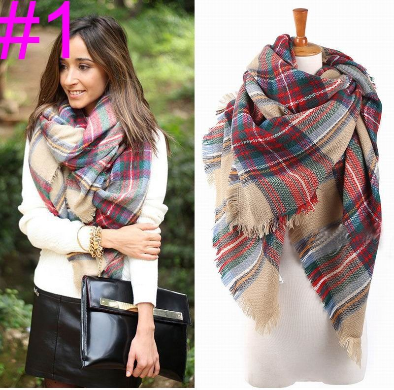 Factory Price Women Oversized font b Tartan b font Blanket Scarf Woman Ladies Shawl Bloggers Favor