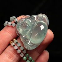 Natural stone hand carved laughing Buddha/Stone necklace appraisal certificate gift box