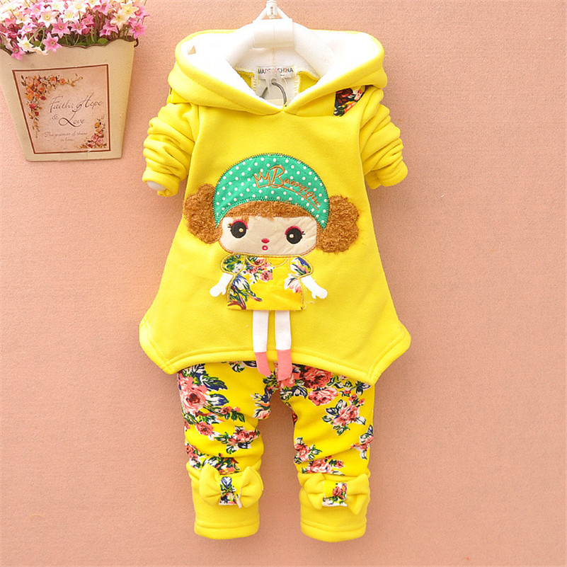 MBBGJOY Baby Girl Autumn Winter Cartoon Sets Hooded Coat + Pants Clothes for 0-3T Kids Toddler Children Clothing Trousers Jacket 3pcs children clothing sets 2017 new autumn winter toddler kids boys clothes hooded t shirt jacket coat pants