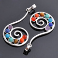 Angel Inlaid 7 Healing Point Chakra Reiki Gems Pendant For Necklace Jewelry Gift