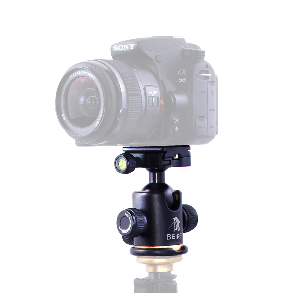 Beike BK-03 Aluminum Alloy Camera Tripod head / Ball Head With Quick <font><b>Release</b></font> Plate &Two levels Maximum Load 8KG For DSLR Camera