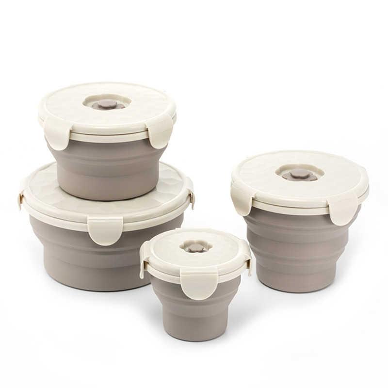 Round Silicone Folding Lunch Box Bowl Portable Bento Box