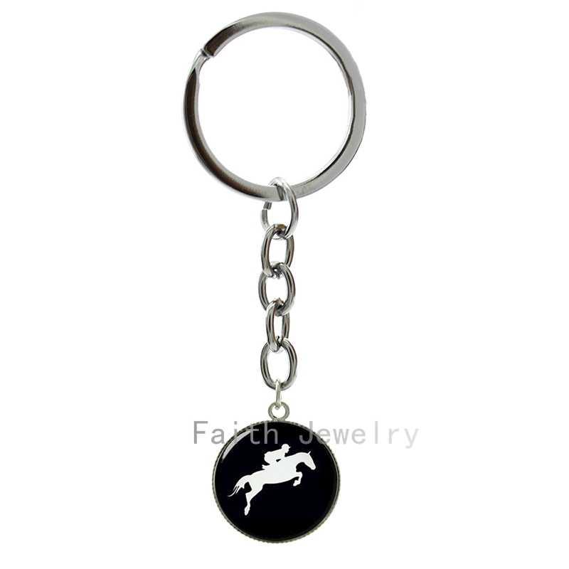 ركوب صورة ظلية سلسلة مفاتيح يوم دربي سباق الخيل الرياضة كيرينغ الفروسية المفاتيح كول ركوب الخيل مجوهرات 1309