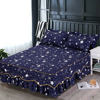 1.5m/1.8m/2m Bed Cover Queen King Size Bedspread 2019 Stars Feather Flamingo Printed Bed Skirt Mattress Without Pillow Cases
