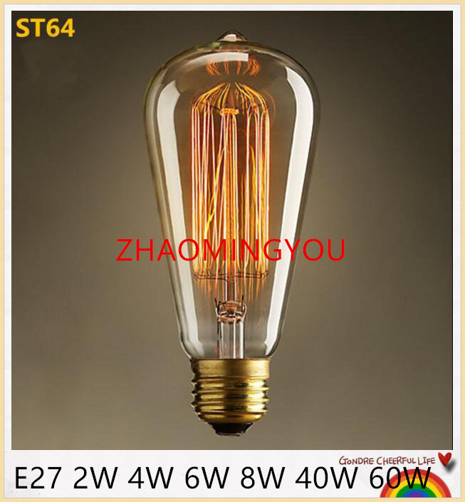 zhao led bulb light ampoule vintage st64 e27 2w 4w 6w 8w led edison bulb 40w 60w lumiere led. Black Bedroom Furniture Sets. Home Design Ideas
