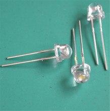 100pcs/lot 6-7LM white 5mm straw hat LED lamp beads super bright LED super big core Light-emitting diodes (leds)