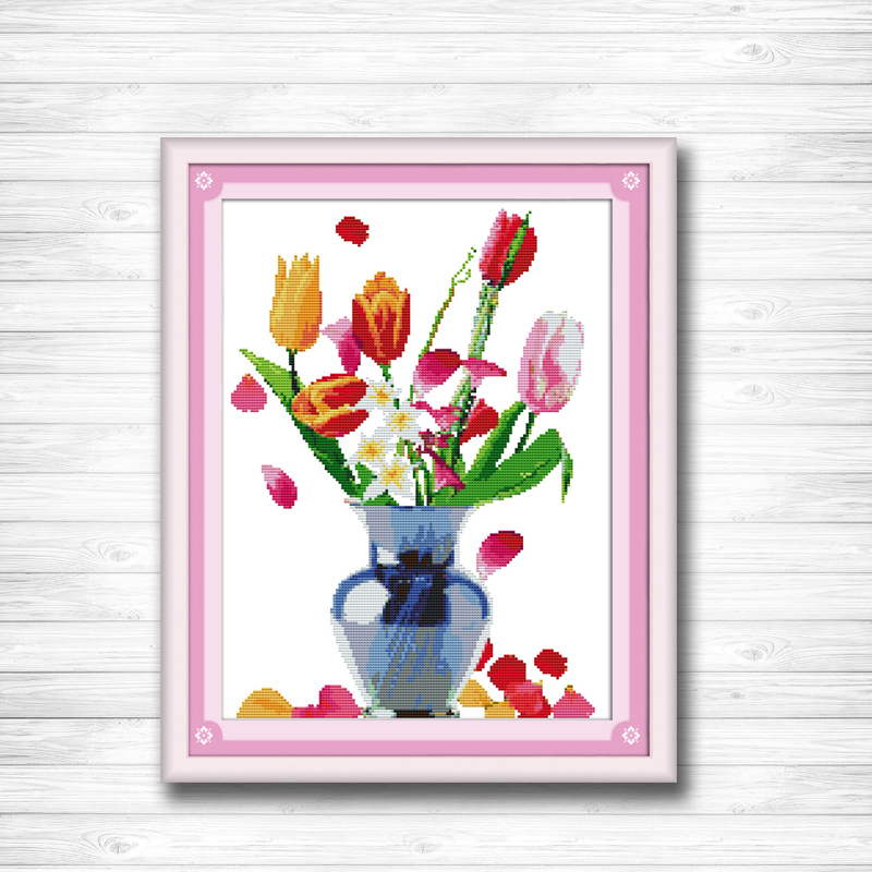 Cross-stitch Sensible Rain Of Petals Flower Vase Painting 14ct 11ct Counted Cross Stitch Kits Embroidery Set Needlework Set Chinese Cross Stitch Be Shrewd In Money Matters Home & Garden