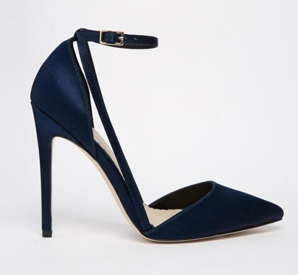 2017 sexy pointed toe stiletto heels cutouts woman pumps royal blue black  ankle strap dress shoes thin heels shoes
