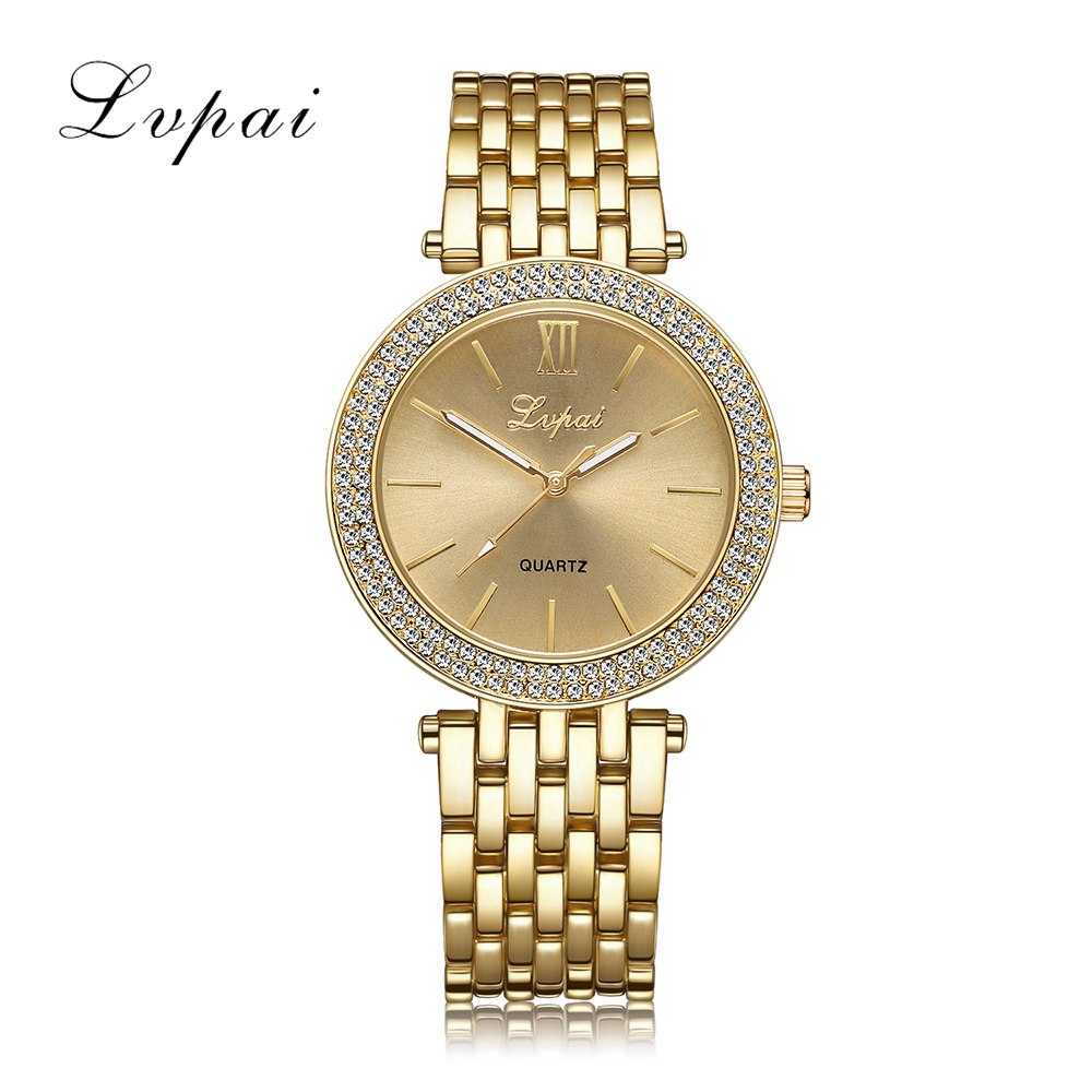 Lvpai Brand New Arrival 2017 Women Watches Luxury Fashion Quartz Wristwatch Ladies Steel Classic Crystal Gold Dress Clock LP022