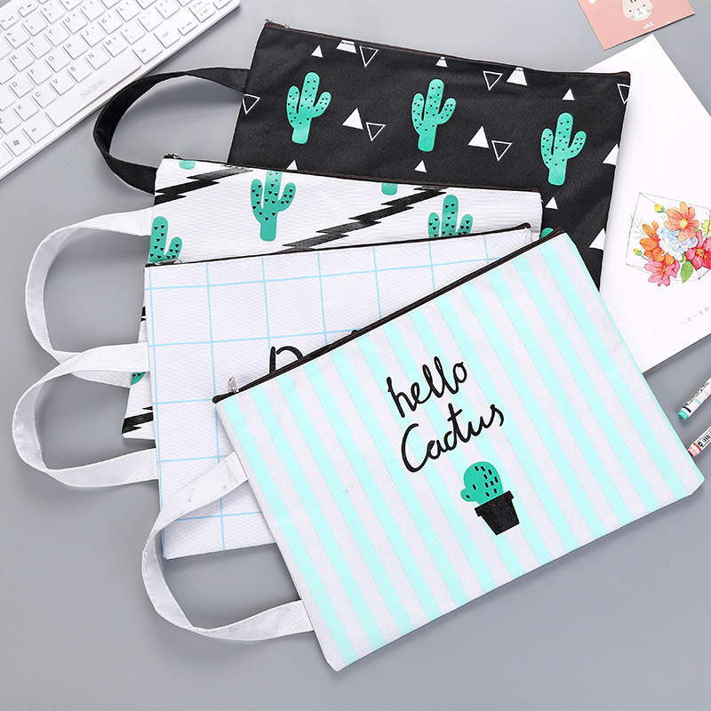 Cute Cactus A4 file holder Portable zipper Oxford waterproof Document bag Korean staionery office school supplies zigzag stripe zipper file holder