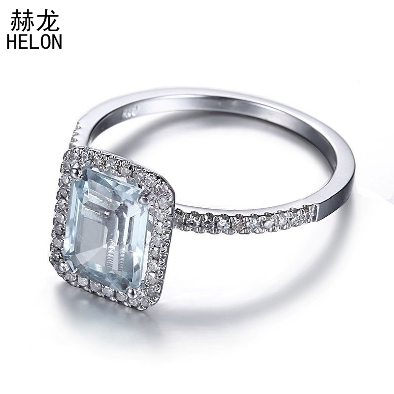 Sterling Silver 925 Engagement Wedding Natural Diamonds Ring 8x6mm Cushion 100% Genuine Aquamarine Gemstone Elegant Jewelry Ring