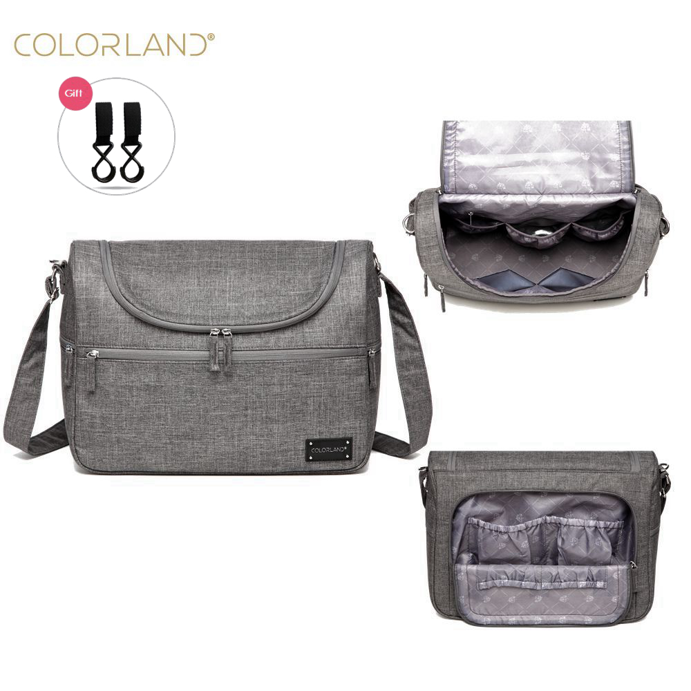 COLORLAND Diaper Messenger Hobos Multifunction Waterproof Maternity Baby Nappy Bag + Changing Pad + Stroller Straps