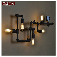 Creative Ancient Water Pipe Wall Lamp Sconce American Vintage Industrial Light Fixtures Bar Coffee Home Decor Apliques Pared