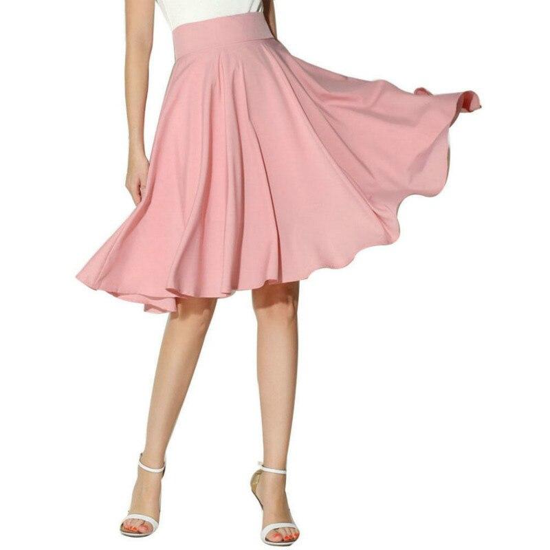 Retro Women Casual High Waist Skirt Summer Lady Evening Party Skater Skirt