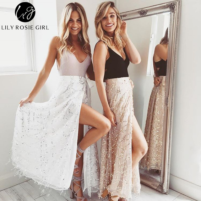 Lily Rosie Girl Women Modern Sexy Sequined Straight Empire Maxi Skirts Casual Summer Beach Party Elegant Long Skirt
