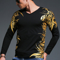 Newest European Style High Quality High End Men Autumn Casual Long Sleeved T Shirt Designed Exclusively