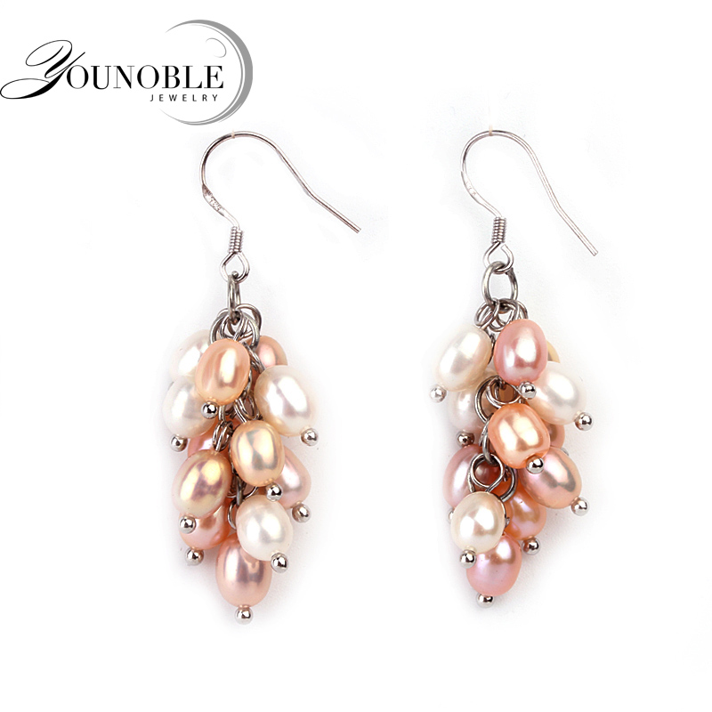 Beautiful boho earrings for women,multi color real 925 silver statement natural freshwater pearl earringsBeautiful boho earrings for women,multi color real 925 silver statement natural freshwater pearl earrings