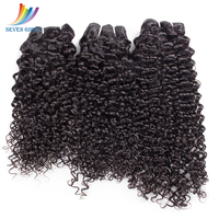 Sevengirls 100% real natural hair Extentions Malaysian Deep Curly Hair Weave 3 Pieces Natural Color Hair Bundles
