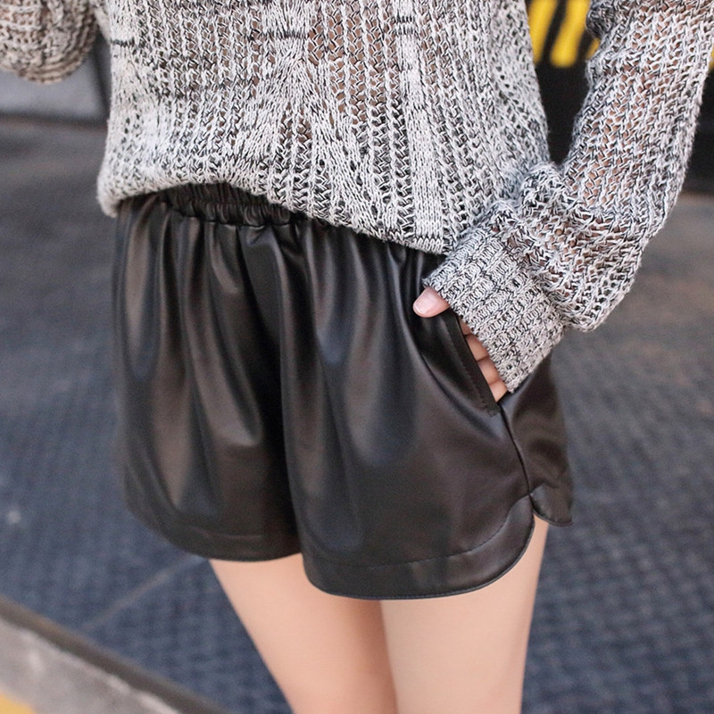 Image 2 - Danjeaner S XXL 2018 New Elastic Waist PU Leather Shorts Women's Black High Quality Short Pants With Pockets Loose Casual Shorts-in Shorts from Women's Clothing