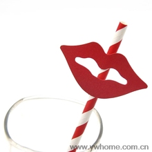 10PCS Black And Red Striped Beard Lips Sticker Paper Straws For Wedding Party Festive Supplies Decoration Paper Drinking Straws
