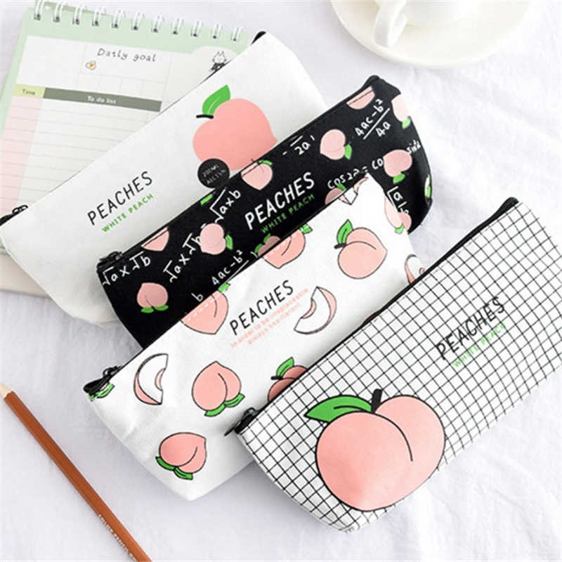 New Canvas Fruit Peach pencil Case School Pencil Cases For Girl Stationery Canvas Pencil Bag School Supplies Students Gifts