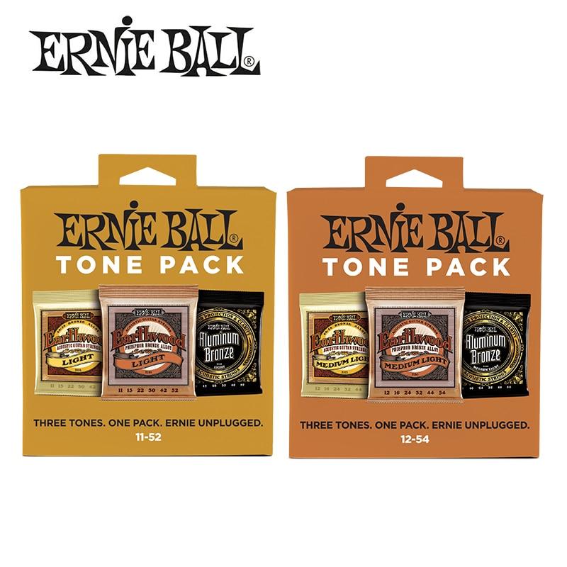 ФОТО 3 Pieces! Ernie Ball Aluminum Bronze/Earthwood Acoustic Guitar Strings Acoustic Tone Pack 11-52/12-54