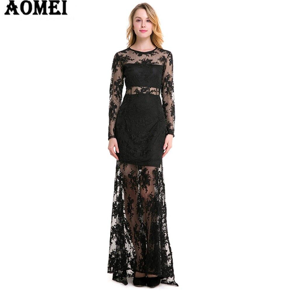 frauen schwarz und weiß farbe spitze langes kleid transparent  abendgesellschaft damen elegante lange kleider kleidung roben kleidung neue