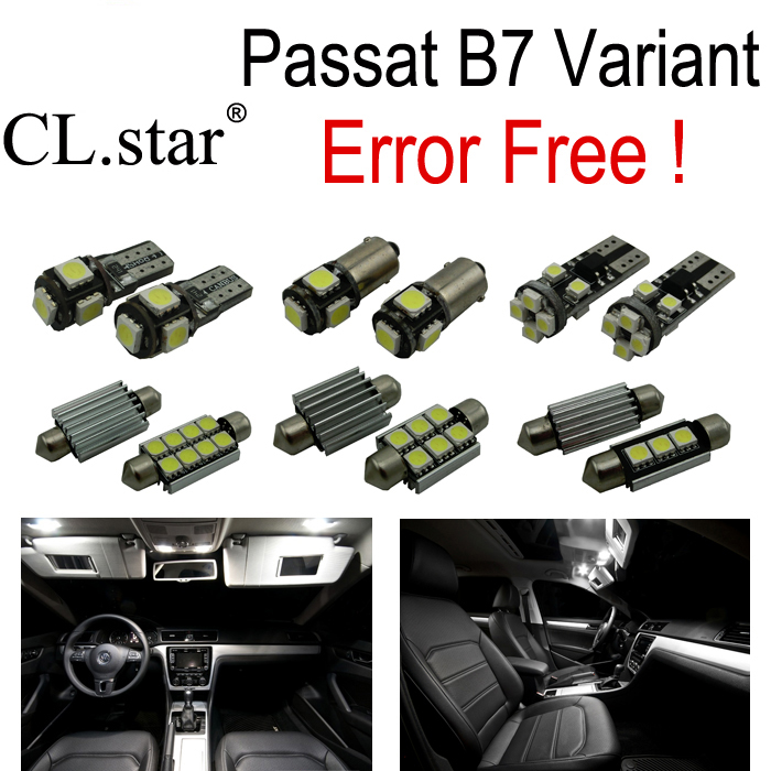 15pc X canbus error free for Volkswagen Passat B7 LED Interior Light Kit  package Variant version ONLY (2012+) for volkswagen passat b6 b7 b8 led interior boot trunk luggage compartment light bulb