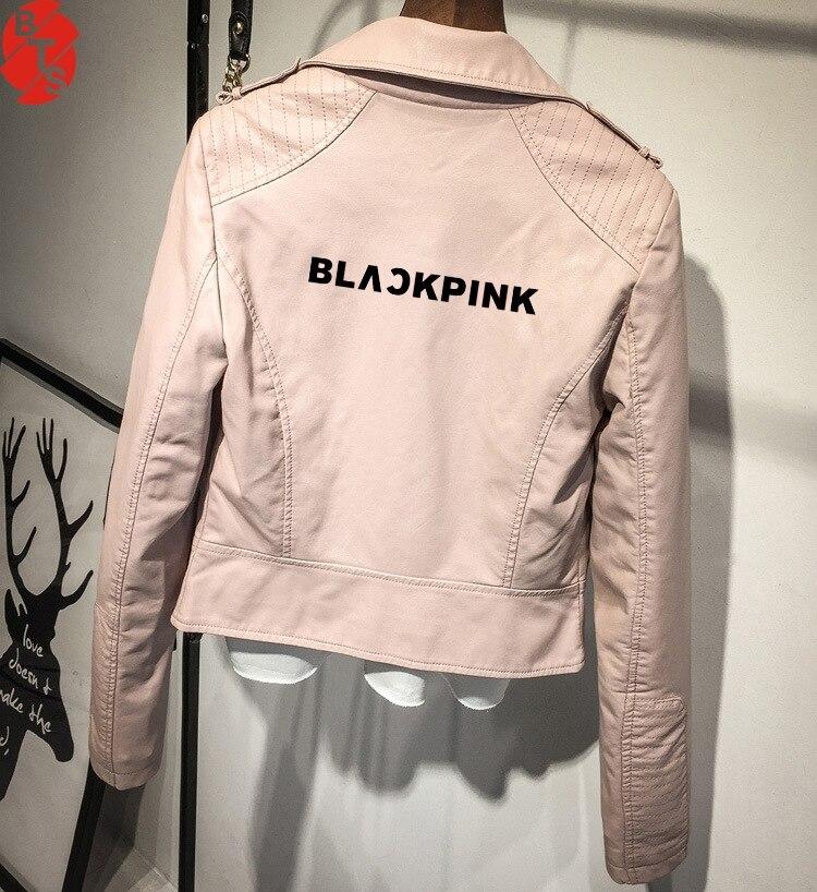 Noir rose PU imprimé chaud Cool vestes en cuir Serpents rose/noir femmes Blackpink Fans Serpents Streetwear en cuir marque manteau